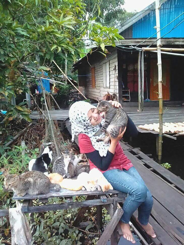 welia iyah2 - Welia Iyah : Wanita Pemelihara 500 Ekor Kucing Asal Amuntai !