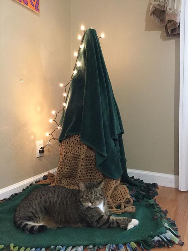 protect chrismas tree9 - 11 Cara Jenius Melindungi Pohon Natal dari Gangguan Kucing dan Anjing Usil. Dijamin Aman